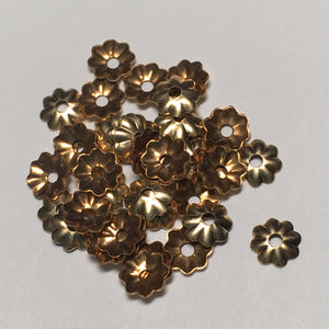 Gold Fluted Bead Caps, 5 mm  - 44 Caps