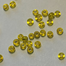 Load image into Gallery viewer, 11/0 Transparent Sunshine Yellow Silver Lined Seed Beads 5 gm