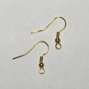 21-Gauge 19 mm Gold French Fish Hook Ear Wires - 1, 5 or 10 Pair