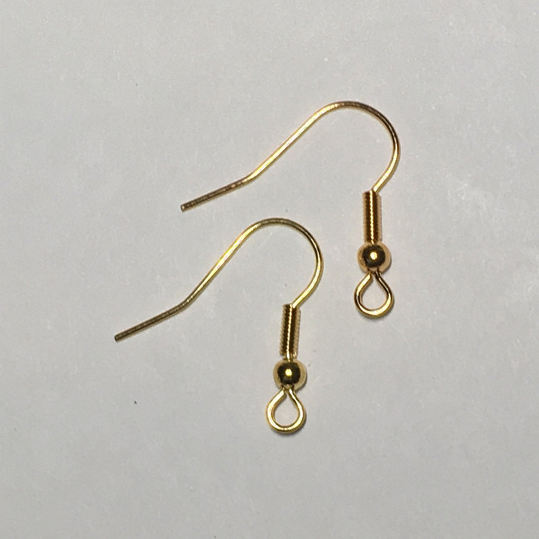 21-Gauge 22 mm Gold Plated French Fish Hook Ear Wires - 1, 5 or 10 Pair