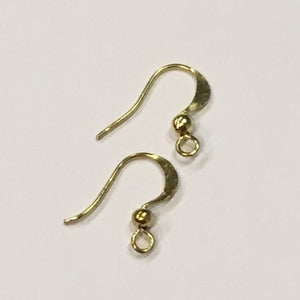 21-Gauge 15 mm Flattened French/Fish Hook Gold Ear Wire - 5 pair