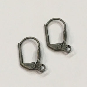 20-Gauge 18 mm Pewter Finish Kidney Lever Ear Wires - 2 pair