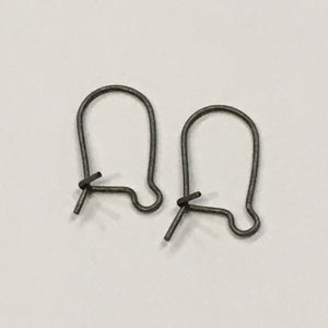 21-Gauge 18 mm Pewter Finish Kidney Ear Wires - 1 Pair