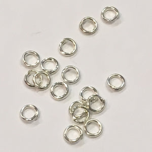 3 mm 22-Gauge Silver Plated Unsoldered 1.3 mm Split Jump Rings, 17 Rings