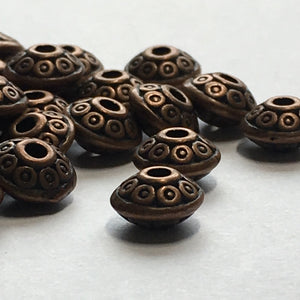 Antique Copper Saucer Beads, 3.8 x 6.75 mm - 22 Beads