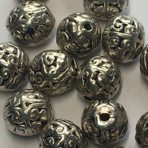 Antique Silver Finish Bali Style Round Beads 8 x 7 mm - 16 Beads