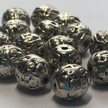 Load image into Gallery viewer, Antique Silver Finish Bali Style Round Beads 8 x 7 mm - 16 Beads