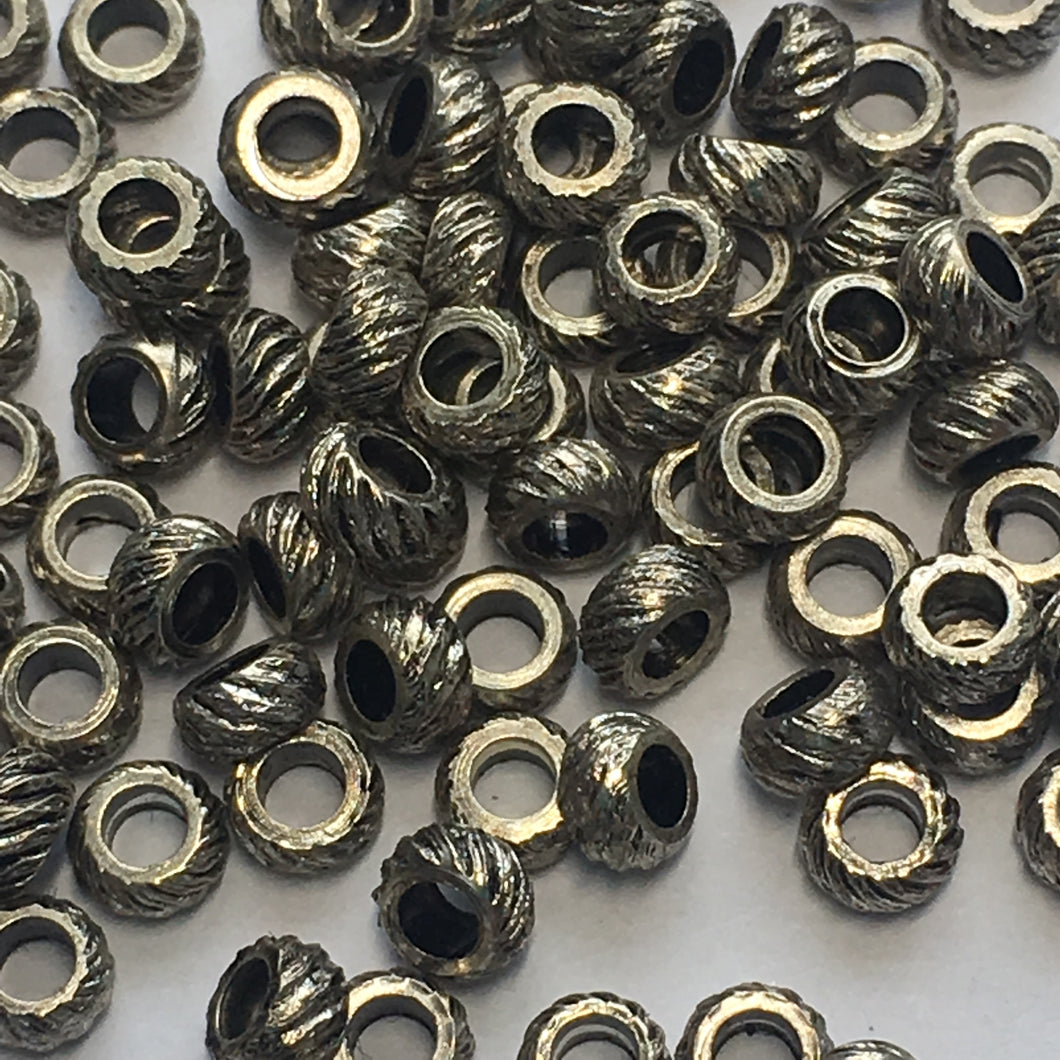 Antique Silver Corrugated Rings Spacer Beads, 2.8 x 2 mm - 100 Beads