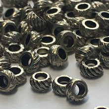 Load image into Gallery viewer, Antique Silver Corrugated Rings Spacer Beads, 2.8 x 2 mm - 100 Beads