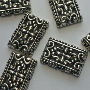 Antique Silver Rectangular Spacer Links 11 x 17 mm - 6 links