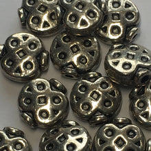 "Load image into Gallery viewer, Antique Silver """"Ladybug"" Saucer Beads, 9.5 x 9 mm - 18 Beads"