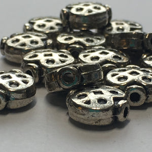 "Antique Silver """"Ladybug"" Saucer Beads, 9.5 x 9 mm - 18 Beads"