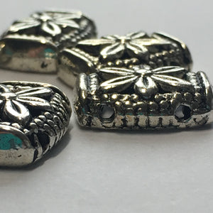Antique Silver Rounded Flat Rectangular Spacer Beads, 11 x 14 mm - 6 Beads