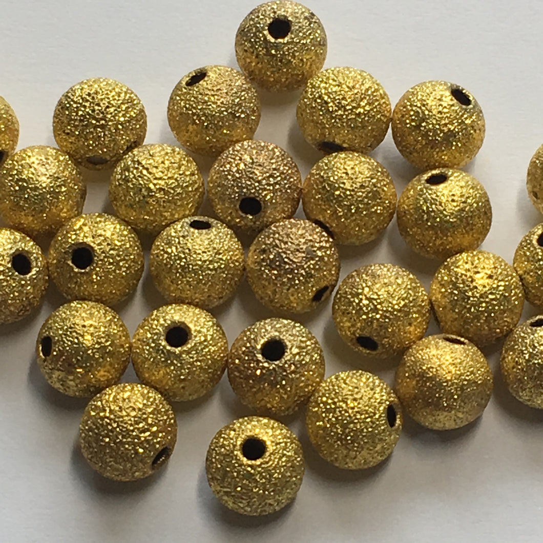 Gold Stardust Round Beads, 6 mm - 36 Beads