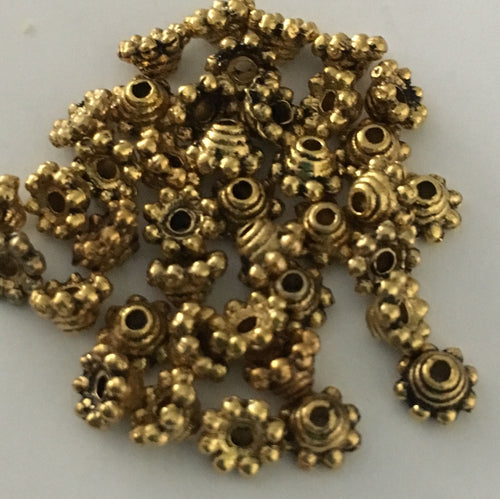 Antique Gold Bead Caps, 5 x 3 mm - 10 Caps