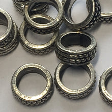 Load image into Gallery viewer, Antique Silver Rings Spacers Connectors Beads, 4 x 10.5 mm, 7.7 mm Hole - 15 Rings