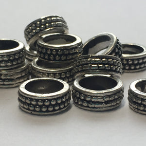 Antique Silver Rings Spacers Connectors Beads, 4 x 10.5 mm, 7.7 mm Hole - 15 Rings