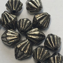 Load image into Gallery viewer, Antique Silver Corrugated (Hogan) Bicone Beads, 7 x 6 mm - 12 Beads