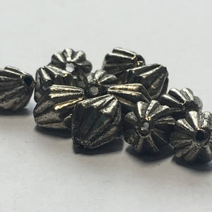 Antique Silver Corrugated (Hogan) Bicone Beads, 7 x 6 mm - 12 Beads