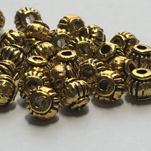 Antique Gold Lantern Beads 4 x 4.5 mm, 30 Beads