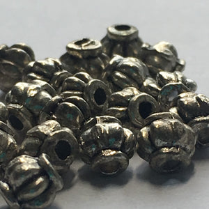 Antique Silver Lantern Beads 4 x 4.5 mm, 20 Beads