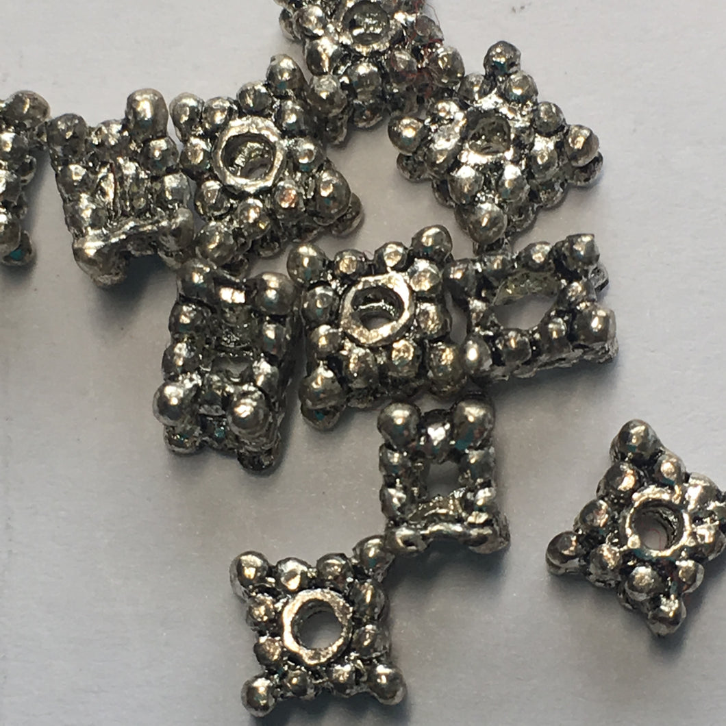 Antique Silver Square Bali Style Spacer Beads 4 x 5 mm, 11 Beads