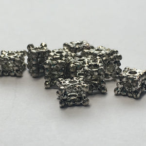 Antique Silver Square Bali Style Spacer Beads, 4 x 5 mm - 11 Beads