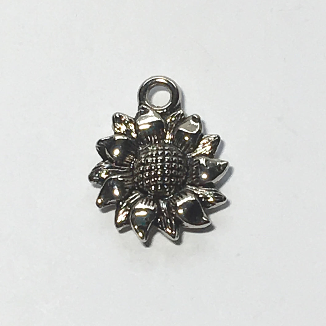 Antique Silver Sunflower Charm, 18 x 15 mm