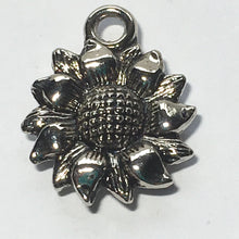 Load image into Gallery viewer, Antique Silver Sunflower Charm, 18 x 15 mm