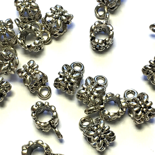 Antique Silver Bali Style Slider Charm, 10 x 5.5 mm
