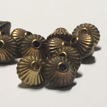 Load image into Gallery viewer, Vintage Antique Gold Corrugated Hollow Bicone Beads, 7 x 6 mm - 13 Beads