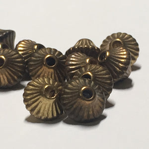 Vintage Antique Gold Corrugated Hollow Bicone Beads, 7 x 6 mm - 13 Beads