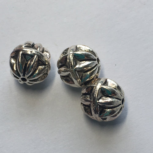 Antique Silver Round Flower Capped Beads, 8 mm - 3 Beads