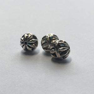 Antique Silver Round Metal Beads, 8 mm, 3 Beads