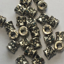 Load image into Gallery viewer, Antique Silver Barrel Beads, 3.5 x 3.5 mm - 28 Beads