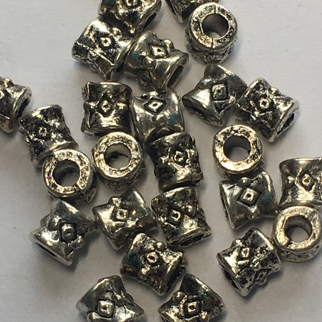 Antique Silver Barrel Beads, 3.5 x 3.5 mm - 28 Beads