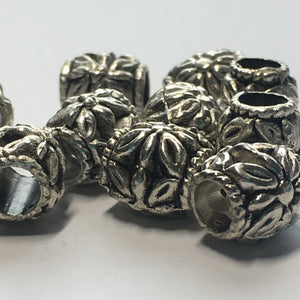 Antique Silver Flower Bali Barrel Beads, 11 x 10 mm - 11 Beads