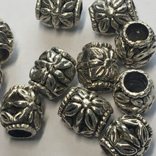 Load image into Gallery viewer, Antique Silver Flower Bali Barrel Beads, 11 x 10 mm - 11 Beads