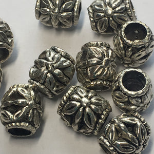 Antique Silver Flower Bali Barrel Metal Beads, 11 x 10 mm, 5 mm Hole, 11 Beads