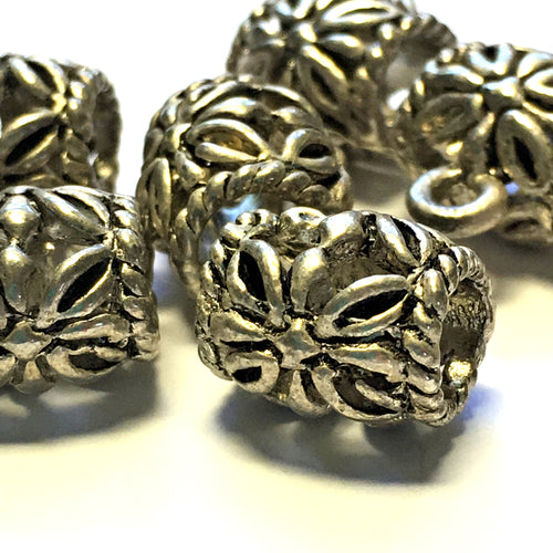 Antique Silver Flower Bali Barrel Slider Charm, 13 x 11 mm
