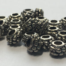 Load image into Gallery viewer, Antique Silver Barrel Spacer Beads, 4.5 x 7 mm - 26 Beads