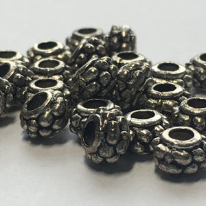Antique Silver Barrel Spacer Beads, 4.5 x 7 mm - 26 Beads