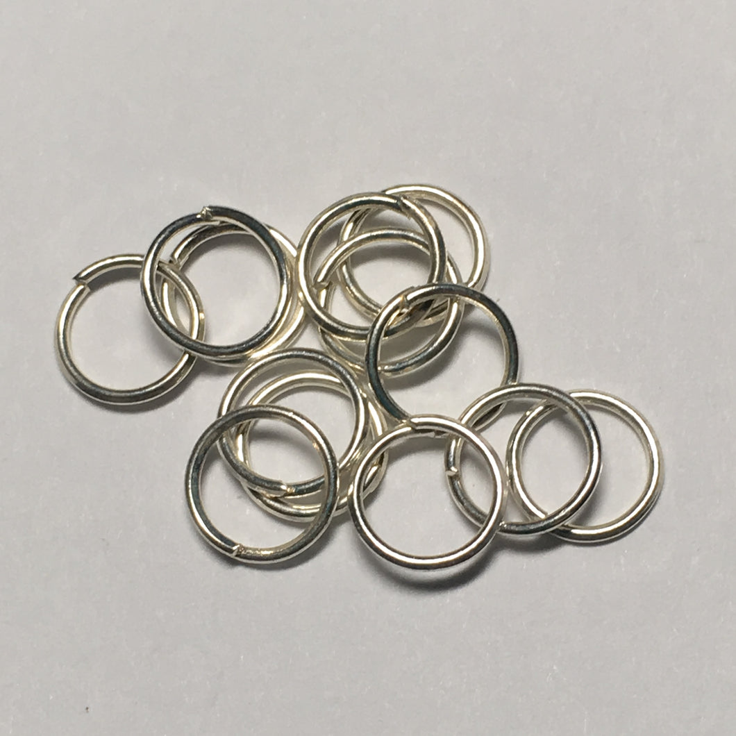 7 mm 21-Gauge Silver Plated 0.71 mm Unsoldered Split Jump Rings, 13 Rings