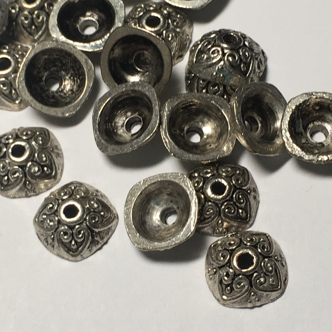 Antique Silver Square Hearts 9 mm Bead Caps - 20 Caps