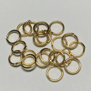 6 mm 20-Gauge Gold Unsoldered Split 0.8 mm Plated Iron Jump Rings - 20 Rings
