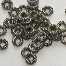 Load image into Gallery viewer, Antique Silver Coil Ring Metal Spacer Beads, 1.25 x 5 mm, 45 Beads