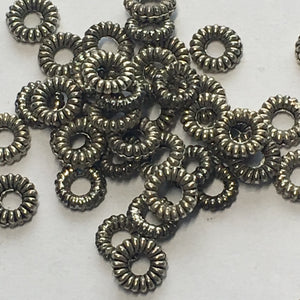Antique Silver Coil Ring Metal Spacer Beads, 1.25 x 5 mm, 45 Beads