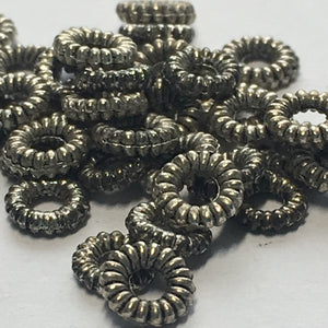 Antique Silver Coil Ring Spacer Beads, 1.25 x 5 mm - 45 Beads