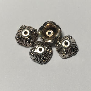 Antique Silver Square Hearts Bead Caps, 9 mm  - 20 Caps