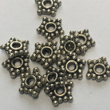 Load image into Gallery viewer, Antique Silver Bali Style Flat Star Daisy Spacer Bead 8 mm - 13 Beads